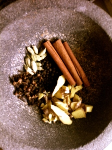 cinnamon, cardamom, cloves, ginger, pepper